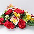 Fleurir une tombe, un cimetière : raquette de fleurs pour cimetière en fleurs artificielles
