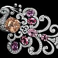 Cartier bird of paradise brooch with 20.22-carat pink sapphire and six padparadscha sapphires