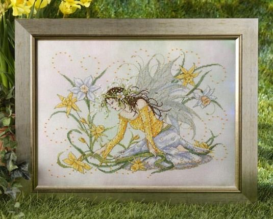 Daffodil Fairy - Cross Stitch Pattern. by Joan Elliott Designs Stitched on your choice of 14 count fabric with DMC...