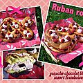 Ruban rose : ganache chocolat blanc insert framboises & framboises 