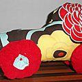 voiture de course en tissu, fabric race car (1)