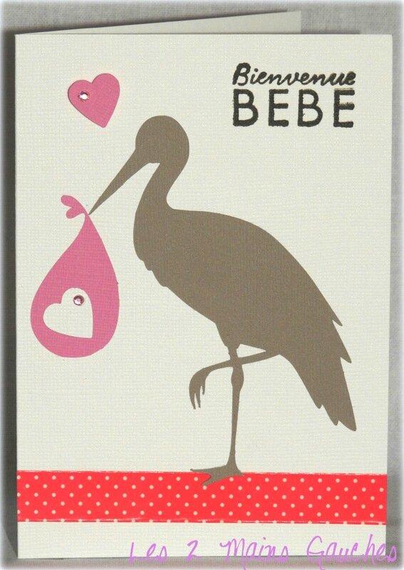 carte de naissance fille avec cigogne