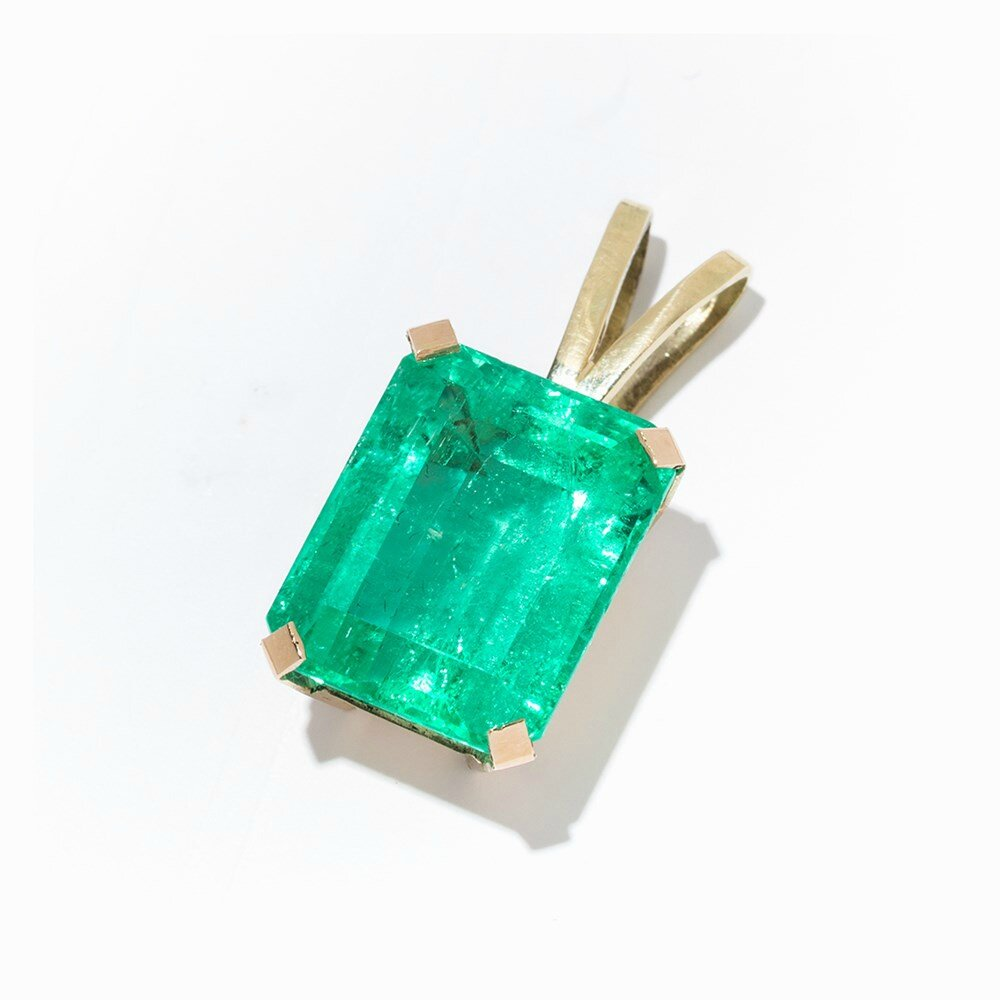Pendant with Natural Colombian Emerald of 11.48 Ct, 14K Gold