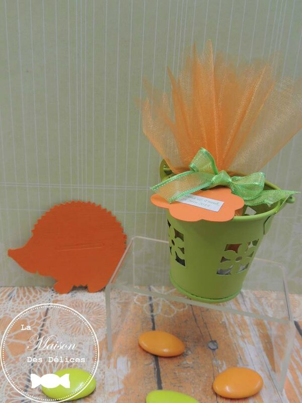 seau pot metal chocolat vert anis orange abricot mandarine tulle ruban organza etiquette ballotin dragees mariage bapteme communion amande avola