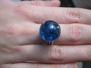 bague bulle bleue