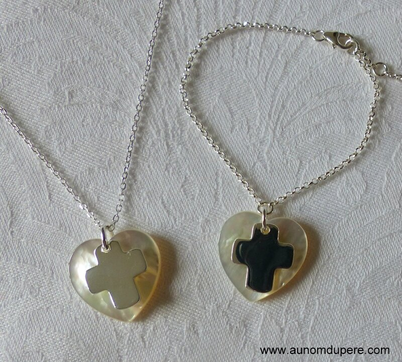 Collier coeur et Croix et bracelet assorti - 50 € le collier ; 55 € le bracelet