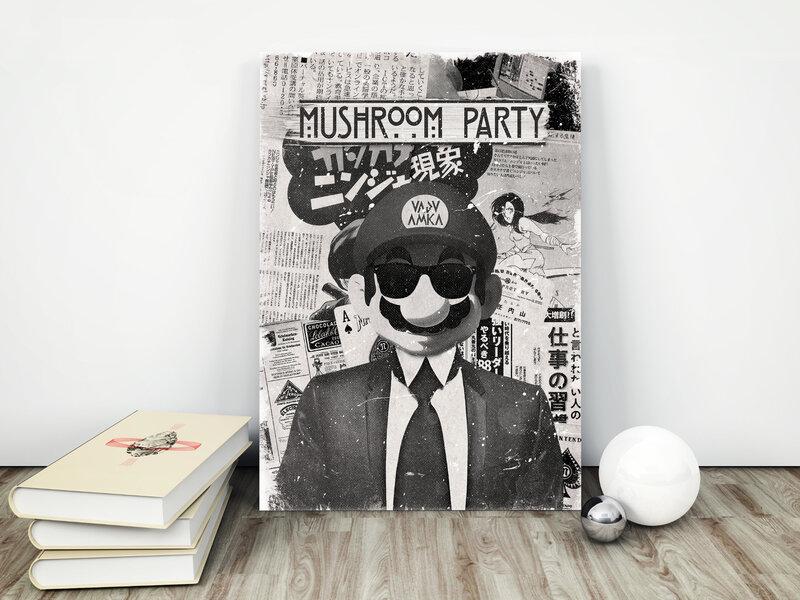 Mario party mockup retro poster