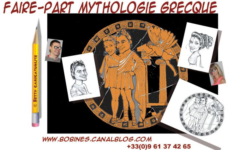 faire-part theme grec grece en dessins et caricatures pour un mariage original