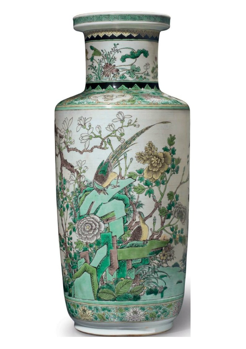 A rare famille verte biscuit, rouleau vase, China, Qing dynasty, 19th century