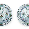 A pair of doucai 'lotus pond' dishes, yongzheng six-character marks and of the period (1723-1735)
