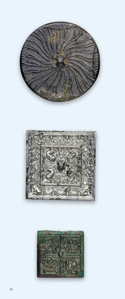 Three small bronze mirrors, Tang dynasty, Tang-Five Dynasties, Ming Dynasty