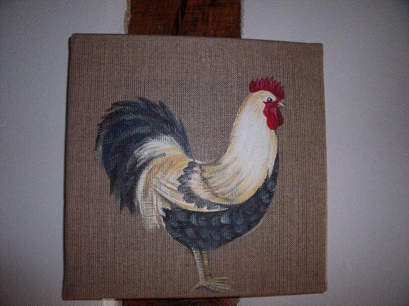 coq sur toile de lin photo de dessins peintures illustrations bouillon de poules. Black Bedroom Furniture Sets. Home Design Ideas
