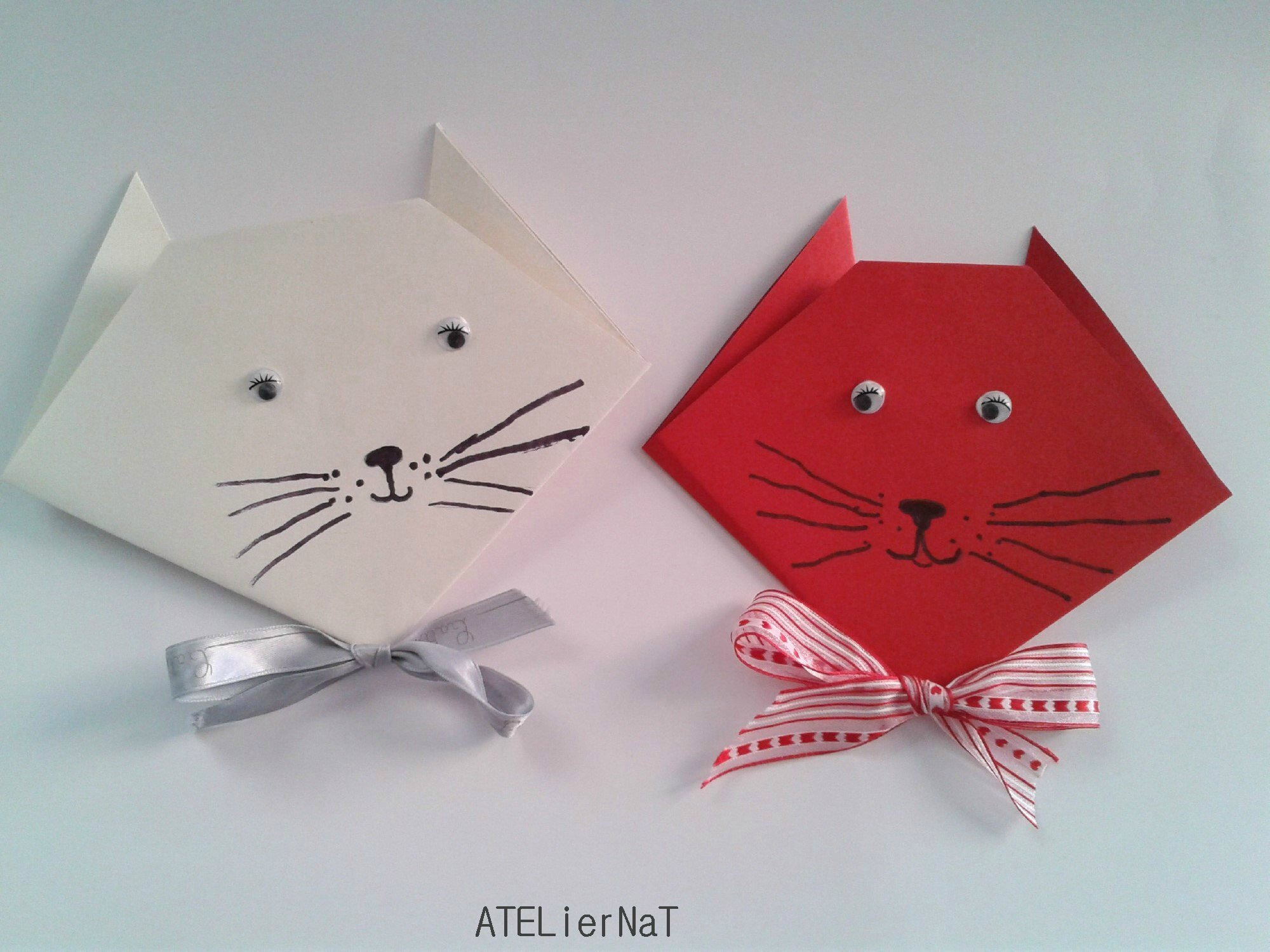 Tuto chat en origami ateliernat cr ations d co loisirs cr atifs - Origami facile pour noel ...