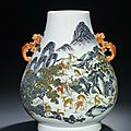 A Magnificent Famille Rose 'Hundred Deer' Vase, hu