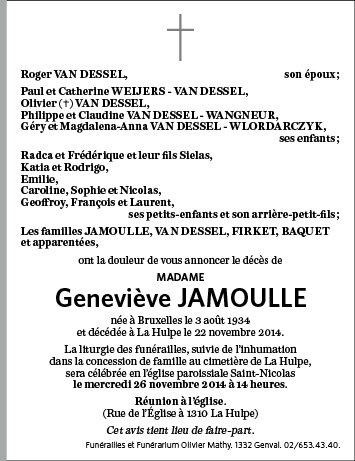 Nécrologie Geneviève Jamoulle
