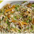 Pâtes soba aux légumes printaniers et crème de soja