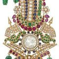 A diamond and multi-gem sarpech. Indian, mid 20th century