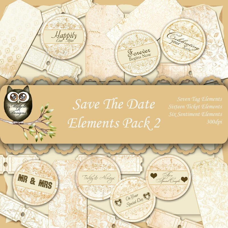 Save The Date Elements Front Sheet Pack 2