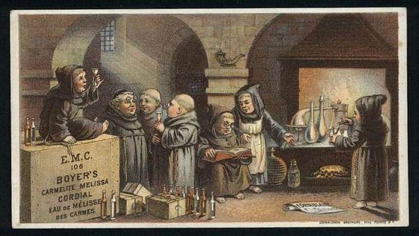 Chromolithographie - Cordial de Mélisse des Carmes xixe siècle - 1840