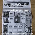 Fiche de commande franaise-Avril Lavigne Back catalogue (2011)