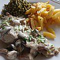 Hampe de veau sauce girolles et frites maison