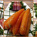 Carottes glacées au miel et haricots lardés