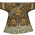 A chestnut embroidered gauze child's 'dragon' robe, jiaqing period