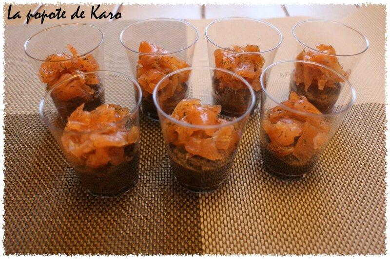 verrine lentilles saumon