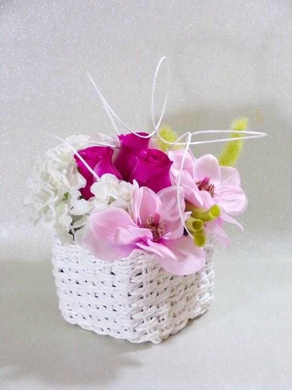 Centre de table fleur rose et blanc