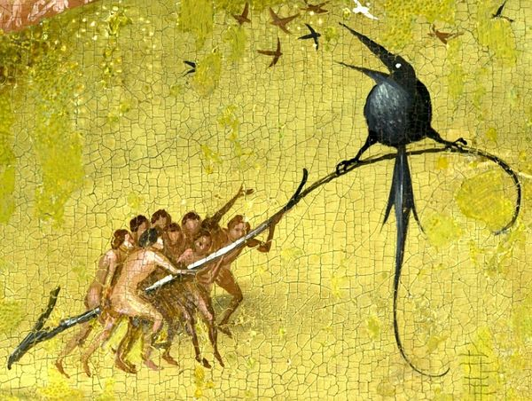 The Garden of Earthly Delights - central panel inside (left side) - detail raven entre 1503 et 1504 - Jérôme Bosch