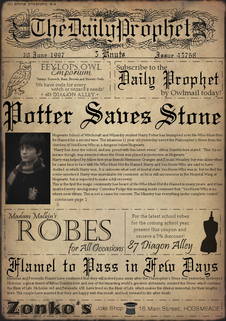 DAILY PROPHET - PAPER-PROPS HARRY POTTER