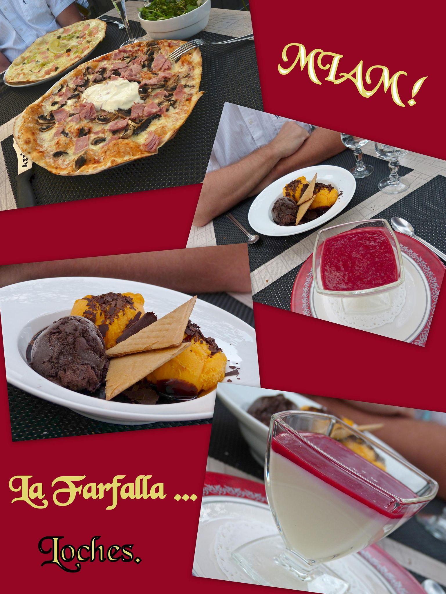 Pizzas et desserts à Loches. Août 2012.