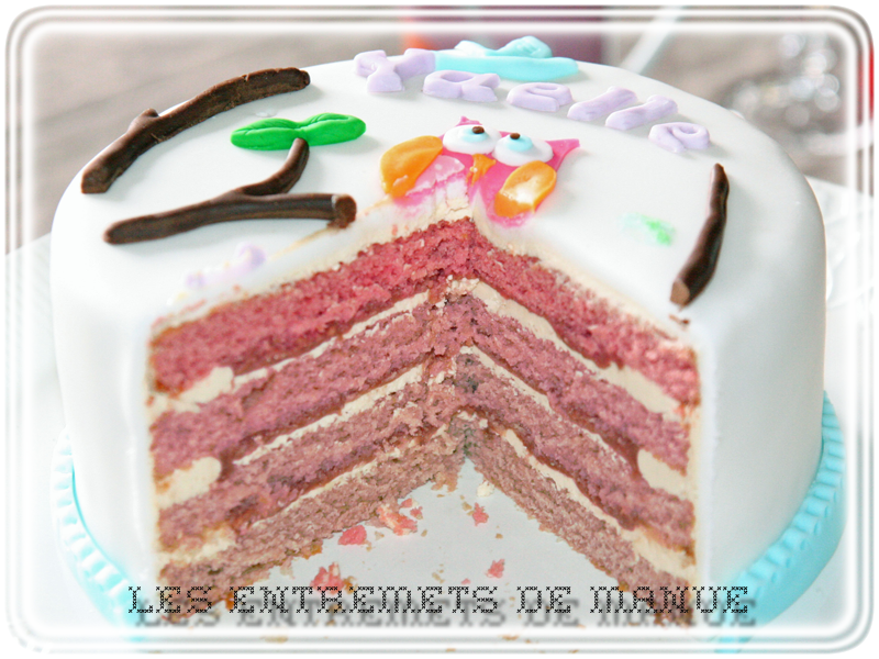 Layer cake framboise ouvert