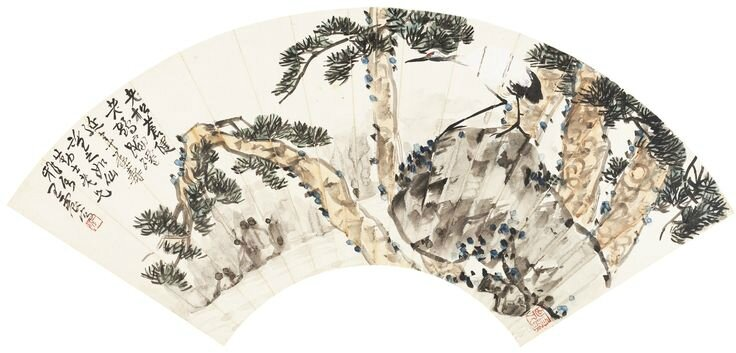 Wang Zhen (1867-1938), Poem in running script; crane and pine trees