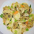 Pâtes au surimi et champignons, sauce aux asperges