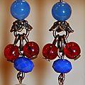 Boucle d'oreilles percées en perles de culture et de verre Bleu et Rouge