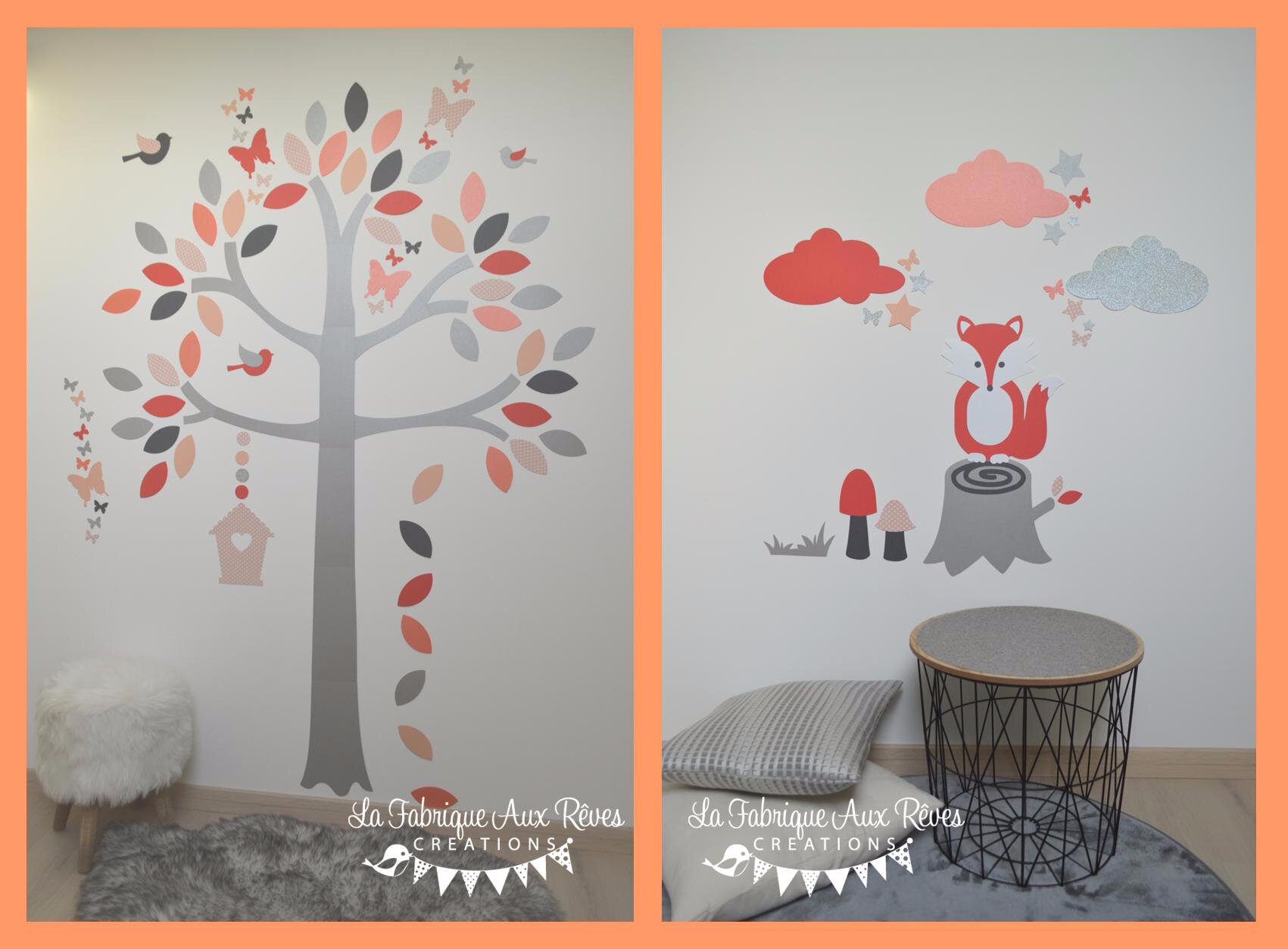 stickers renard arbre corail saumon gris argent. Black Bedroom Furniture Sets. Home Design Ideas