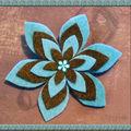 Broche étoile feutrine turquoise chocolat (N)