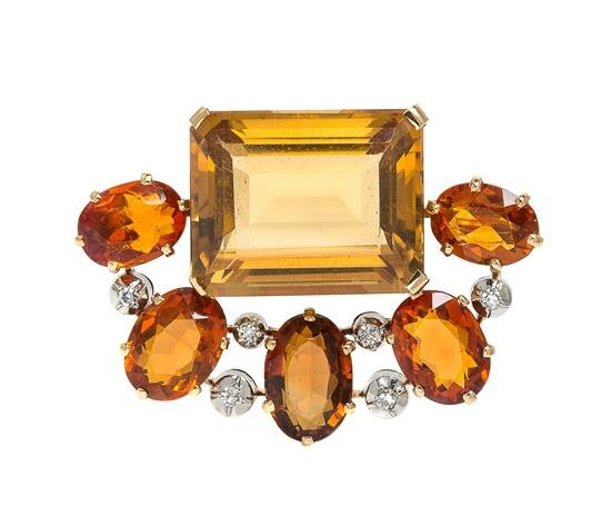 An 18 Karat Yellow Gold, Platinum, Citrine and Diamond Brooch, Jean Fouquet
