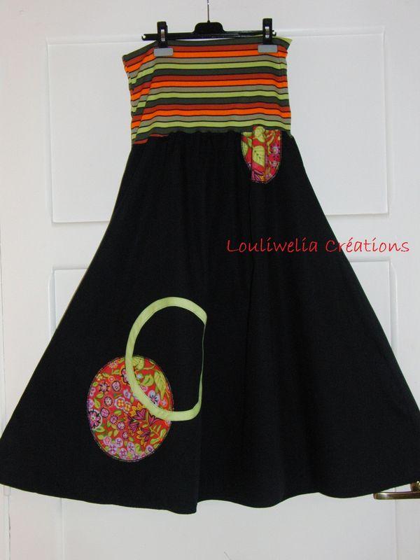42 44 jupe longue noire printemps t originale femme rouge vert fleurs louliwelia cr ations. Black Bedroom Furniture Sets. Home Design Ideas
