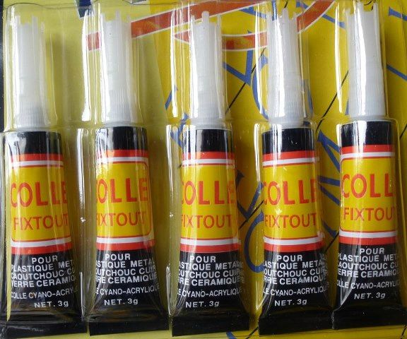 nouveaut lot de 5 tubes colle super glue pour c ramique porcelaine m tal bois verre cuir. Black Bedroom Furniture Sets. Home Design Ideas