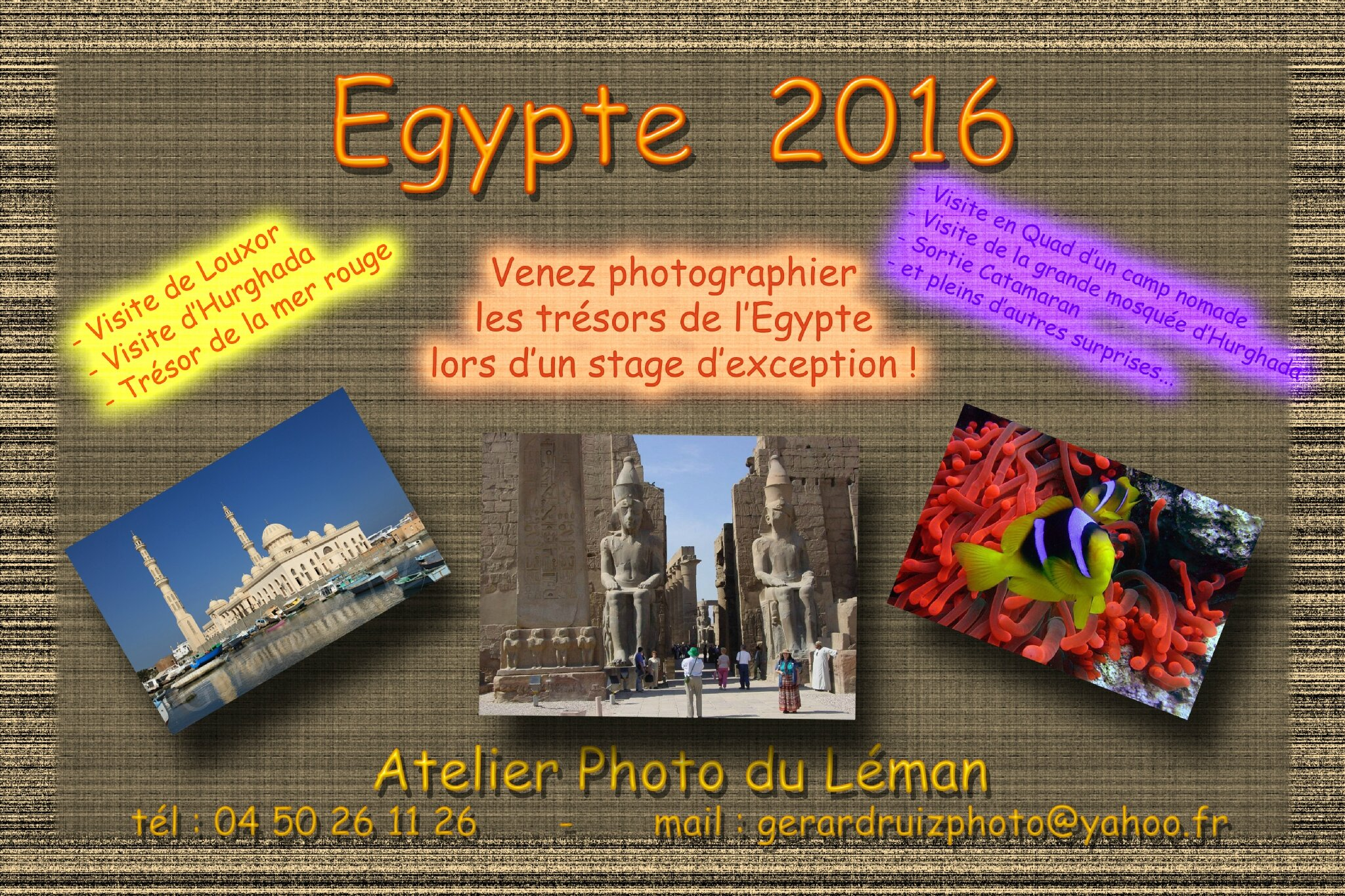 STAGE PHOTO EGYPTE