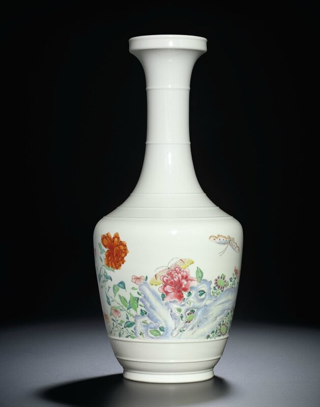 A very rare famille-rose 'Floral' vase, Yongzheng four-character mark and of the period (1723-1735)