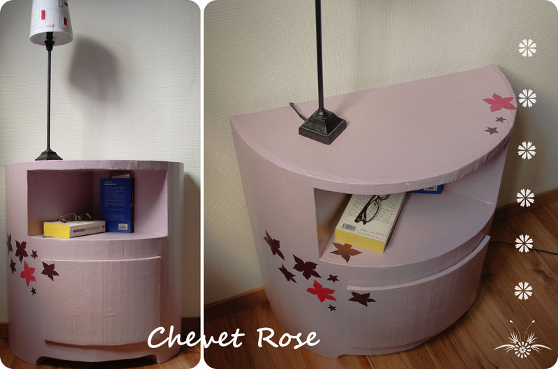 chevet rose fleur de carton. Black Bedroom Furniture Sets. Home Design Ideas