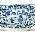 A large blue and white bowl, Ming dynasty, Chongzhen period