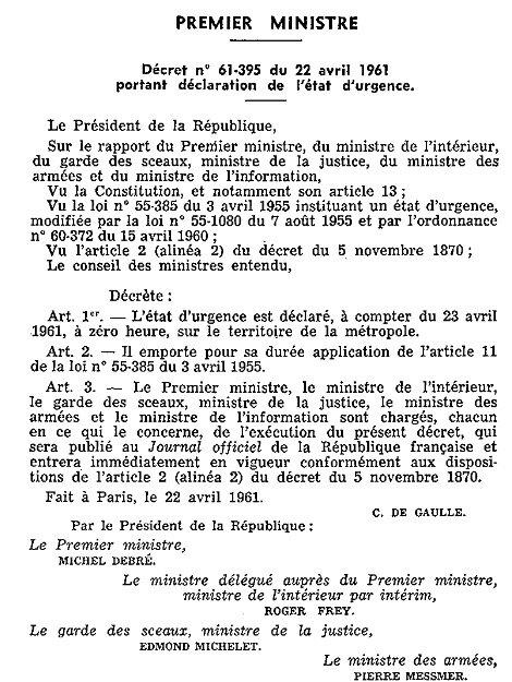 décret sur l'état d'urgence, 22 avril 1961