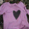 Pour Lola (tshirt jersey rayé de Myrtille, patron maison)