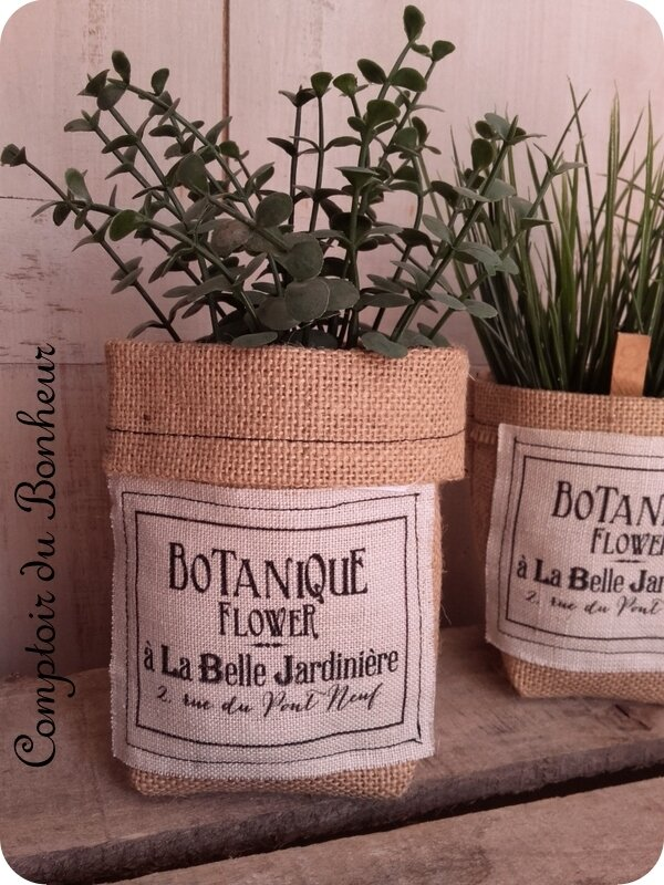 petits cache pots en toile de jute comptoir du bonheur la boutique. Black Bedroom Furniture Sets. Home Design Ideas