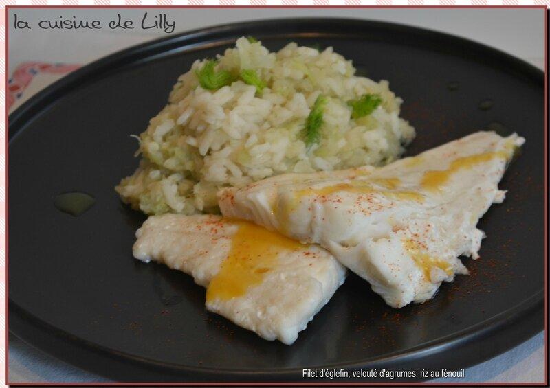 filet d'églefin, velouté aux agrumes, riz au fénouil