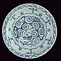 A big blue and white porcelain dish, Wanli period (1573-1619)